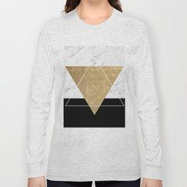 Golden marble deco geometric Long Sleeve T-shirt