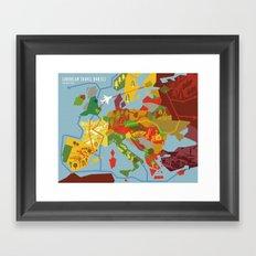 Abstract European Travel Map Framed Art Print