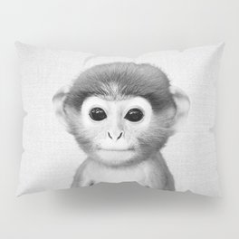 Baby Monkey - Black & White Pillow Sham