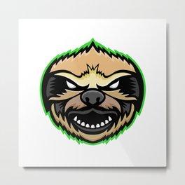 Angry Sloth Mascot Metal Print