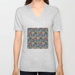 Cute Girly Pink Blue & Yellow Floral Gray Design Unisex V-Neck