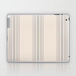 Simple Farmhouse Stripes in Gray on Beige Laptop & iPad Skin