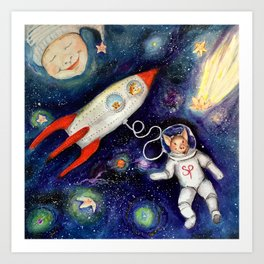 Ground Control to Super Pig Art Print