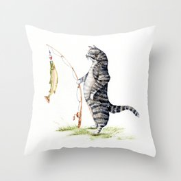 Cat with a Fish Throw Pillow