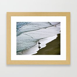 Waiting for the waves. Framed Art Print