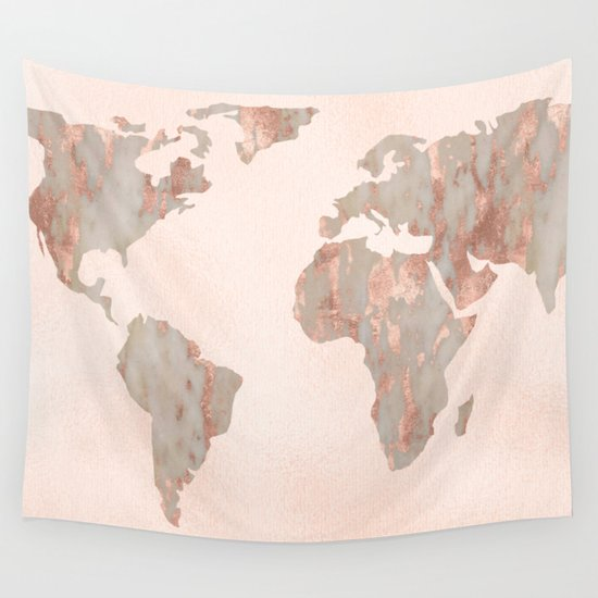 Rose Gold Marble Map Of The World Wall Tapestry By