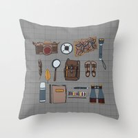 kit king Throw Pillows featuring Explorers kit by Laura Barnes