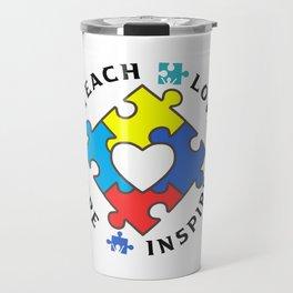 Autism Teacher Shirt Special Ed Teach Love Hope Inspire Gift T-Shirt  Travel Mug