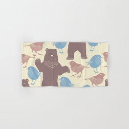 Seamless Happy Bears And Birds Hand & Bath Towel
