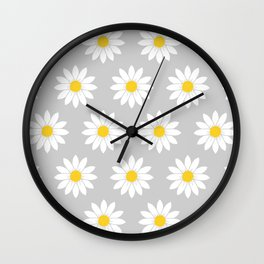 Daisies in Gray Wall Clock