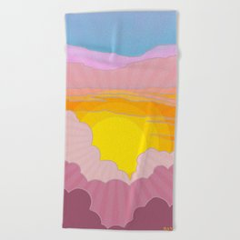 Sixties Inspired Psychedelic Sunrise Surprise Beach Towel