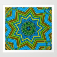 Lovely Healing Mandalas in Brilliant Colors: Blue, Yellow, Gold, and Green Art Print