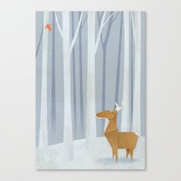 Origami deer in the Woods Canvas Print