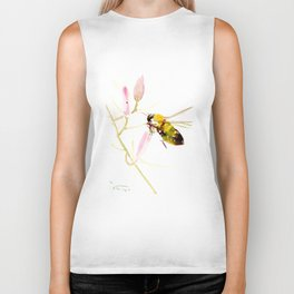 Bee and Pink Flowers Biker Tank