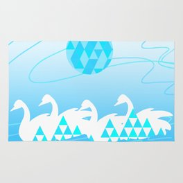 Blue Swan Lake Rug