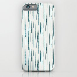 Tropical Dark Teal Abstract Grunge Vertical Stripe Pattern Inspired by Sherwin Williams 2020 Trending Color Oceanside SW6496 on Off White iPhone Case