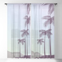 Palm in the sunset Sheer Curtain