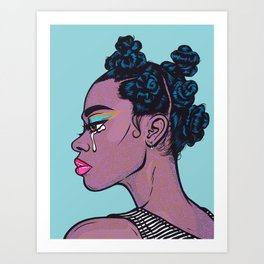 Black Crying Comic Girl Art Print