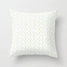 A scattering of pale green squares on white. Throw Pillow
