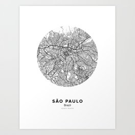 São Paulo Circle Map Art Print