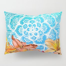 Orange Lilies & White Mandala on Blue Pillow Sham