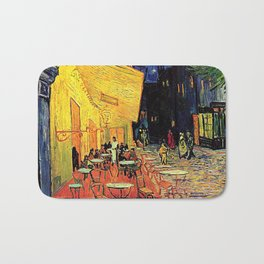 The cafe terrace on the place du forum, Arles, at night, by Vincent van gogh.  Bath Mat