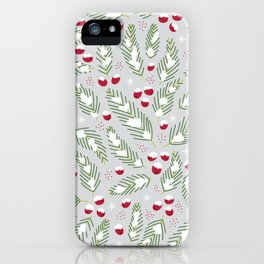 Winter Berries in Gray iPhone Case