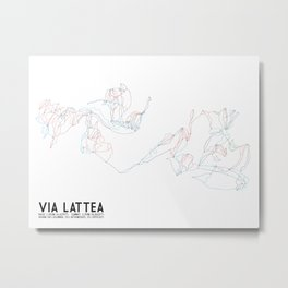 Via Lattea, Torino, Italy - Unlabeled - Minimalist Winter Trail Art Metal Print