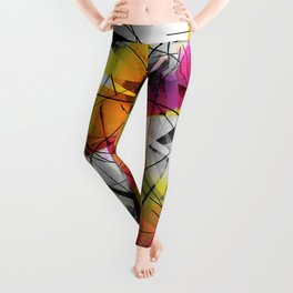 Discourse on Damage - Futuristic Geometric Abstract Art Leggings