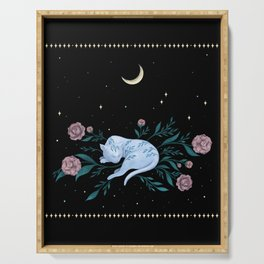 Cat Dreaming of the Moon Serving Tray
