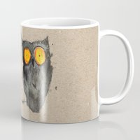 scary Mugs featuring Scary owl by Bwiselizzy