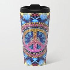 Groovy Hippie Love Mandala Metal Travel Mug