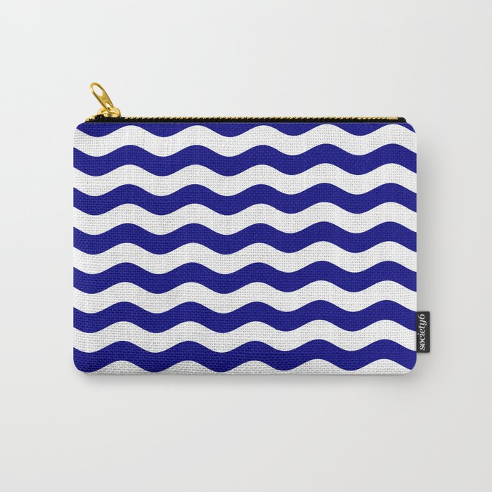 Wavy Stripes (Navy Blue/White) Carry-All Pouch