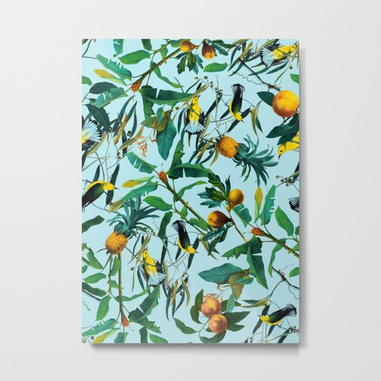 Fruit and Birds Pattern Metal Print