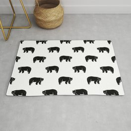 Linocut minimal black and white bear forest camping pattern nature art Rug