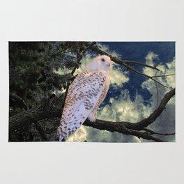 Snowy Owl Bird Stormy Sky A127 Rug