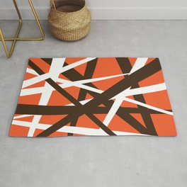 Brown Orange and White Abstract Stripes Rug