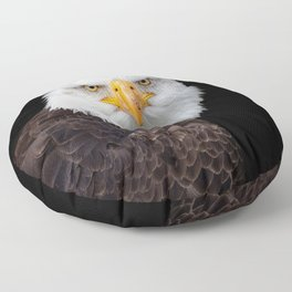 White Head Eagle with black background Floor Pillow