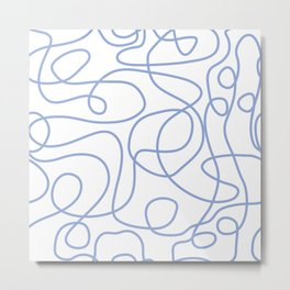 Doodle Line Art | Periwinkle Lines on White Background Metal Print