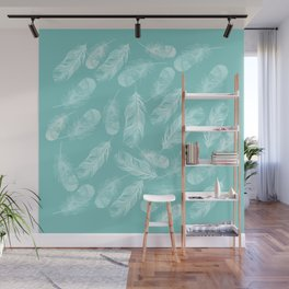 Feathers and Down in White and Light Blue Wall Mural
