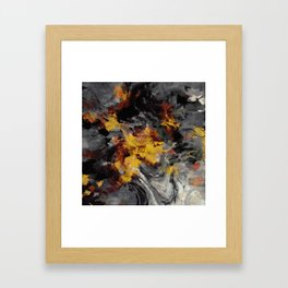 Yellow / Golden Abstract / Surrealist Landscape Painting Framed Art Print