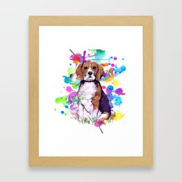 Cute watercolor beagle with paint splatters Framed Art Print