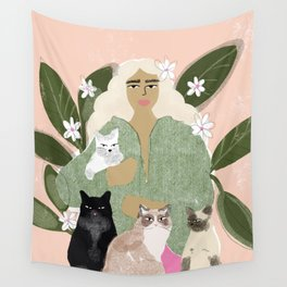 Cat Mom Wall Tapestry