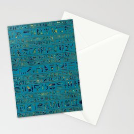 Egyptian hieroglyphs on teal leather texture Stationery Cards