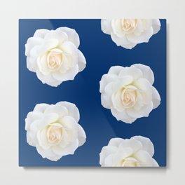Cream Rose Polka Dot on Blue Metal Print
