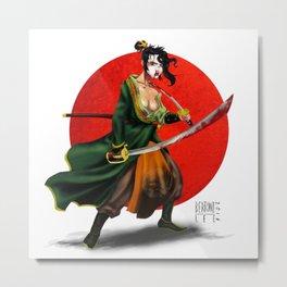 Samurai geisha Metal Print