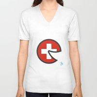 switzerland V-neck T-shirts featuring Switzerland Smile by onejyoo