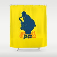 jazz Shower Curtains featuring jazz by jenapaul