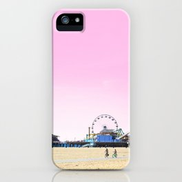 Santa Monica Pier with Ferries Wheel and Roller Coaster Against a Pink Sky iPhone Case