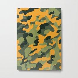 Green & Orange Camo Metal Print